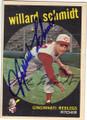 WILLARD SCHMIDT CINCINNATI REDLEGS AUTOGRAPHED VINTAGE BASEBALL CARD #32715A