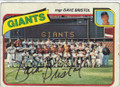 DAVE BRISTOL SAN FRANCISCO GIANTS AUTOGRAPHED VINTAGE BASEBALL CARD #40415C
