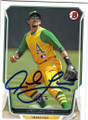 JED LOWRIE OAKLAND ATHLETICS AUTOGRAPHED BASEBALL CARD #40915A