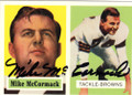 MIKE McCORMACK CLEVELAND BROWNS AUTOGRAPHED FOOTBALL CARD #42815i