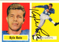 KYLE ROTE NEW YORK GIANTS AUTOGRAPHED FOOTBALL CARD #50515E