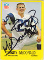 TOMMY McDONALD LOS ANGELES RAMS AUTOGRAPHED VINTAGE FOOTBALL CARD #50715B
