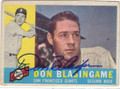 DON BLASINGAME SAN FRANCISCO GIANTS AUTOGRAPHED VINTAGE BASEBALL CARD #61315B