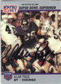 ALAN PAGE MINNESOTA VIKINGS AUTOGRAPHED FOOTBALL CARD #70815F