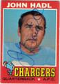 JOHN HADL SAN DIEGO CHARGERS AUTOGRAPHED VINTAGE FOOTBALL CARD #70915B