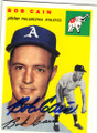 BOB CAIN PHILADELPHIA ATHLETICS AUTOGRAPHED BASEBALL CARD #71415B