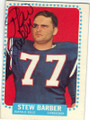 STEW BARBER BUFFALO BILLS AUTOGRAPHED VINTAGE ROOKIE FOOTBALL CARD #81415B