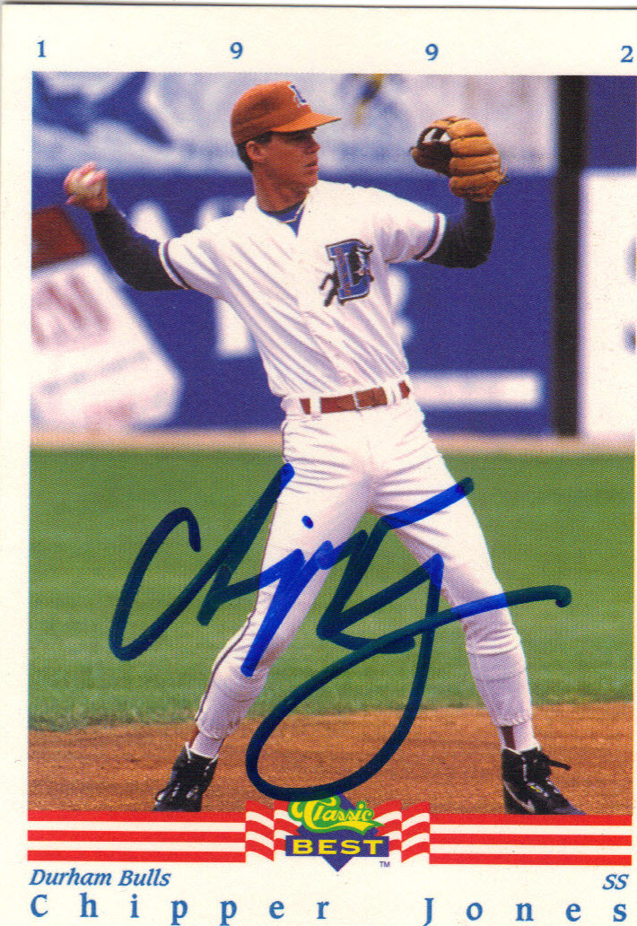 Chipper Jones Durham Bulls Autographed Rookie Baseball Card 82415b
