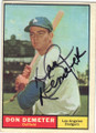 DON DEMETER LOS ANGELES DODGERS AUTOGRAPHED VINTAGE BASEBALL CARD #90515B