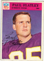 PAUL FLATLEY MINNESOTA VIKINGS AUTOGRAPHED VINTAGE FOOTBALL CARD #91215F