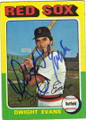 DWIGHT EVANS BOSTON RED SOX AUTOGRAPHED VINTAGE BASEBALL CARD #91515i