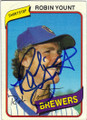 ROBIN YOUNT MILWAUKEE BREWERS AUTOGRAPHED VINTAGE BASEBALL CARD #100515C