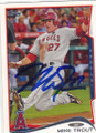 MIKE TROUT LOS ANGELES ANGELS OF ANAHEIM AUTOGRAPHED BASEBALL CARD #100815C