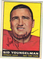 SID YOUNGELMAN NEW YORK TITANS AUTOGRAPHED VINTAGE FOOTBALL CARD #101315E