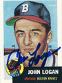 JOHN LOGAN BOSTON BRAVES AUTOGRAPHED BASEBALL CARD #120115A