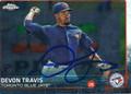 DEVON TRAVIS TORONTO BLUE JAYS AUTOGRAPHED ROOKIE BASEBALL CARD #120215J