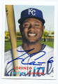 LORENZO CAIN KANSAS CITY ROYALS AUTOGRAPHED BASEBALL CARD #121515D