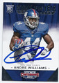 ANDRE WILLIAMS NEW YORK GIANTS AUTOGRAPHED ROOKIE FOOTBALL CARD #10516C