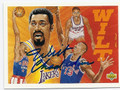 WILT CHAMBERLAIN LOS ANGELES LAKERS AUTOGRAPHED BASKETBALL CARD #11016F