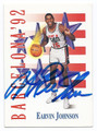 EARVIN MAGIC JOHNSON UEAM USA AUTOGRAPHED OLYMPIC BASKETBALL CARD #11216F