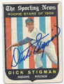 DICK STIGMAN CLEVELAND INDIANS AUTOGRAPHED VINTAGE ROOKIE BASEBALL CARD #11716L
