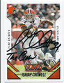 ISAIAH CROWELL CLEVELAND BROWNS AUTOGRAPHED FOOTBALL CARD #12216G