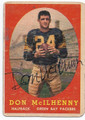 DON McILHENNY GREEN BAY PACKERS AUTOGRAPHED VINTAGE ROOKIE FOOTBALL CARD #13016E