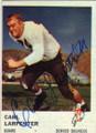 CARL LARPENTER DENVER BRONCOS AUTOGRAPHED VINTAGE FOOTBALL CARD #21016i