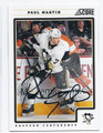 PAUL MARTIN PITTSBURGH PENGUINS AUTOGRAPHED HOCKEY CARD #30916F