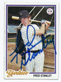 FRED STANLEY NEW YORK YANKEES AUTOGRAPHED VINTAGE BASEBALL CARD #30916G
