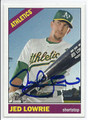 JED LOWRIE OAKLAND ATHLETICS AUTOGRAPHED BASEBALL CARD #40216G