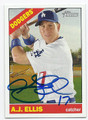 AJ ELLIS LOS ANGELES DODGERS AUTOGRAPHED BASEBALL CARD #40316C