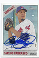 CARLOS CARRASCO CLEVELAND INDIANS AUTOGRAPHED BASEBALL CARD #40416F