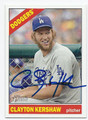 CLAYTON KERSHAW LOS ANGELES DODGERS AUTOGRAPHED BASEBALL CARD #40416H