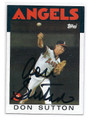 DON SUTTON CALIFORNIA ANGELS AUTOGRAPHED VINTAGE BASEBALL CARD #41216F