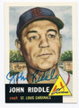 JOHN RIDDLE ST LOUIS CARDINALS AUTOGRAPHED BASEBALL CARD #50216F