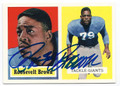 ROOSEVELT BROWN NEW YORK GIANTS AUTOGRAPHED VINTAGE FOOTBALL CARD #51316A