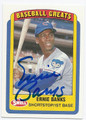 ERNIE BANKS CHICAGO CUBS AUTOGRAPHED BASEBALL CARD #52016C