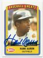 HANK AARON ATLANTA BRAVES AUTOGRAPHED BASEBALL CARD #52016F