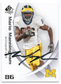 MARIO MANNINGHAM UNIVERSITY OF MICHIGAN WOLVERINES AUTOGRAPHED FOOTBALL CARD #52716A