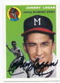 JOHNNY LOGAN MILWAUKEE BRAVES AUTOGRAPHED BASEBALL CARD #61116D