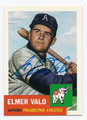 ELMER VALO PHILADELPHIA ATHLETICS AUTOGRAPHED BASEBALL CARD #62916D