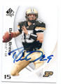 DREW BREES PURDUE UNIVERSITY BOILERMAKERS AUTOGRAPHED FOOTBALL CARD #70216A