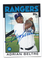 ADRIAN BELTRE TEXAS RANGERS AUTOGRAPHED BASEBALL CARD #70716D