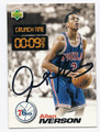 ALLEN IVERSON PHILADELPHIA 76ers AUTOGRAPHED ROOKIE BASKETBALL CARD #72516F