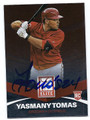 YASMANY TOMAS ARIZONA DIAMONDBACKS AUTOGRAPHED ROOKIE BASEBALL CARD #73116E