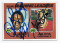 OJ SIMPSON & JIM OTIS BILLS & CARDINALS DOUBLE AUTOGRAPHED VINTAGE FOOTBALL CARD #80416C