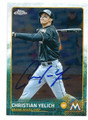 CHRISTIAN YELICH MIAMI MARLINS AUTOGRAPHED BASEBALL CARD #80616F