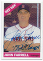 JOHN FARRELL BOSTON RED SOX AUTOGRAPHED BASEBALL CARD #81516A