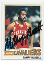 CAMPY RUSSELL CLEVELAND CAVALIERS AUTOGRAPHED VINTAGE BASKETBALL CARD #101116D